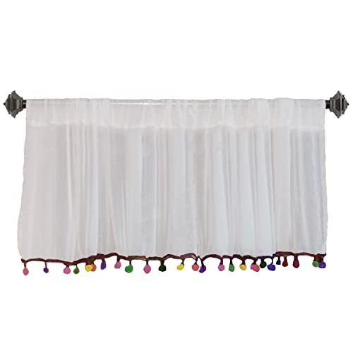 "Pair of White Chiffon Colorful Pom Pom Window Valance 40"" W X 15""H + 4"" Pocket"