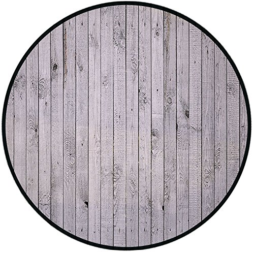 Printing Round Rug,Grey and White,Vertical Lined Wooden Board Background Black and White Tone Vintage Planks Picture Mat Non-Slip Soft Entrance Mat Door Floor Rug Area Rug for Chair Living Room,Grey ()