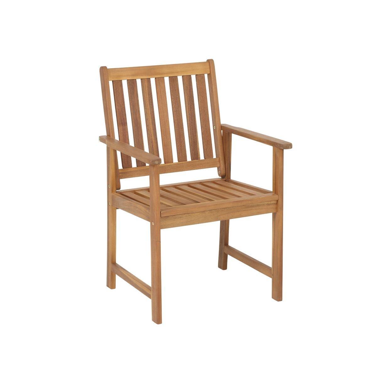 Greemotion Gartenstuhl Borkum - Outdoor-Stuhl mit Armlehne - Gartensessel aus Akazie massiv - Holz-Gartenmöbel für Terrasse & Balkon