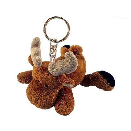 Amazon.com  Puzzled Moose Plush Keychain  Toys   Games 82848686436d
