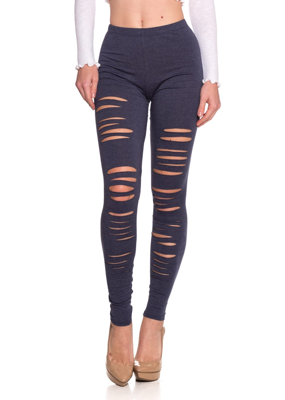 Cemi Ceri Women's J2 Love Ripped Cotton Legging, Medium, Heather Navy