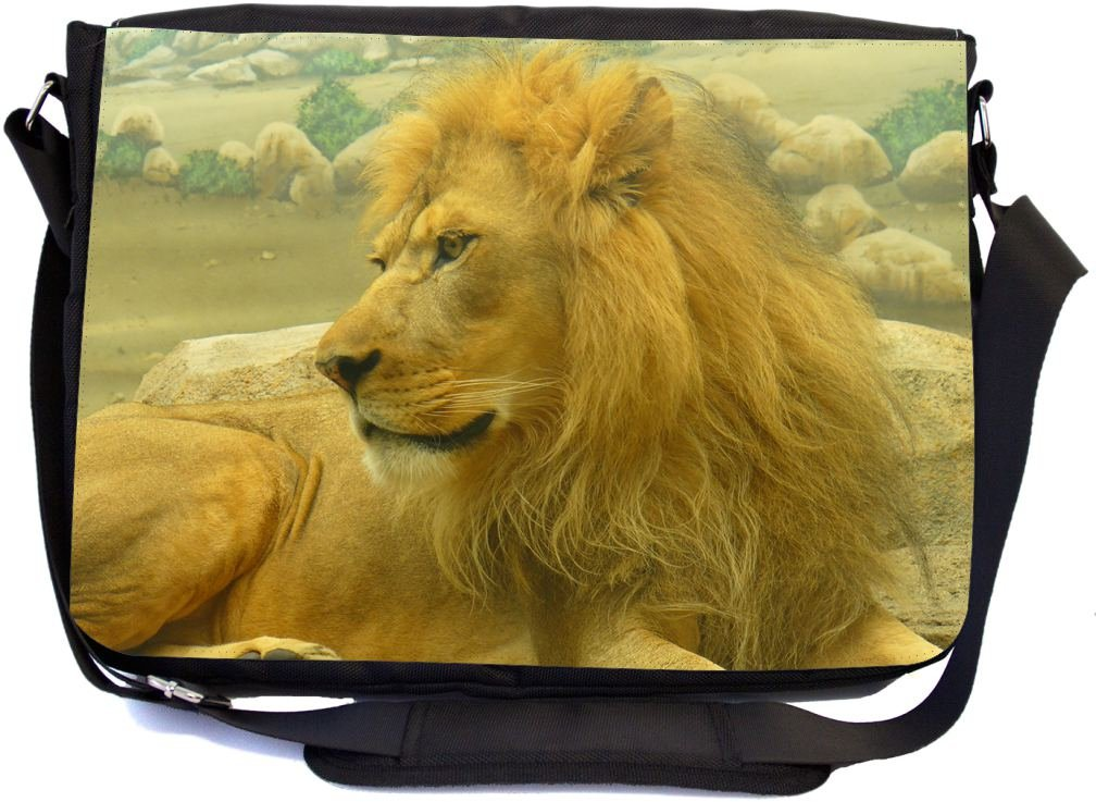 Rikki Knight Beautiful Lion King Close-Up Design Multifunctional Messenger Bag - School Bag - Laptop Bag - with padded insert for School or Work - Includes Matching Compact Mirror 60%OFF