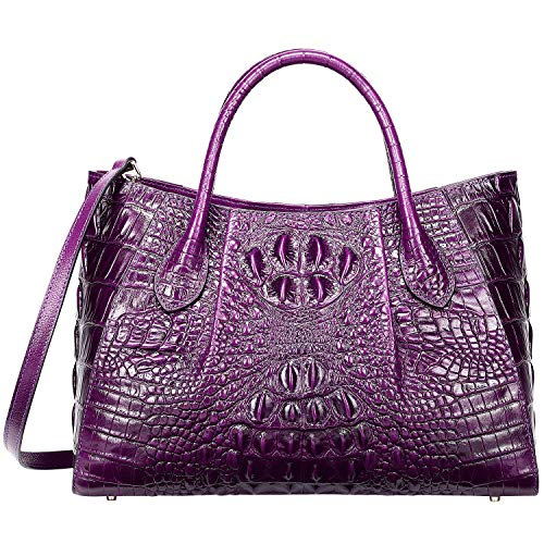 PIJUSHI Women Handbags Crocodile Top Handle Bag Designer Satchel Bags For Women (5002A, Violet)