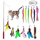 Magic House マジック ハウス 猫のお好みじゃらし 猫のおもちゃセット 羽のおもちゃ 天然鳥の羽棒鈴付き 伸縮できる釣り竿1本 交換用羽12個