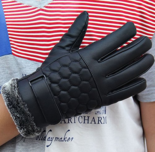 1 Pcs (1 Pair) Luxurious Popular Men Thermal Warm Leather Gloves Snow Decoration Motorcycle Hand Cover Motorbike Outdoor Sports Color Black Model-03