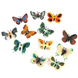 Model Plastic Butterfly Figures Kids Toy Set of 12pcs Multi-color