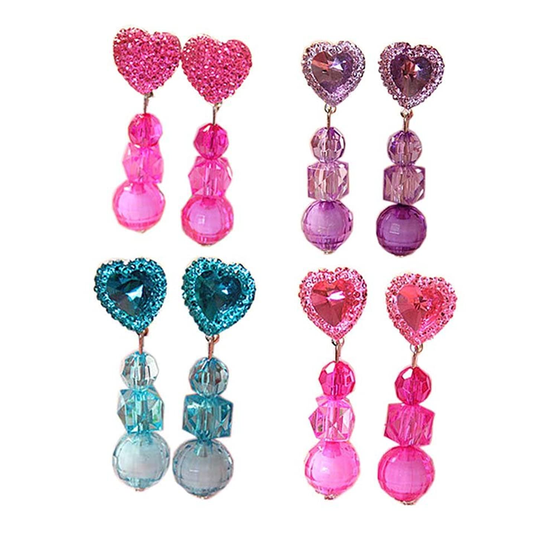 4 paires bébé bijoux oreille Clips pendentif en cristal pour les filles Party semblant Play Toy Dress Up Set, # 03