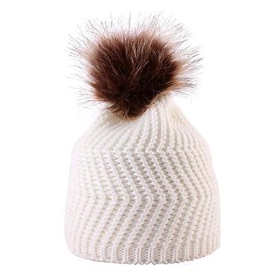 Sunenjoy Bébé Tricoté Chapeau Chaud Double Laine Unisexe Garçon Fille Bonnet  en Crochet Pompon Tressé Peluches 51a662977a0