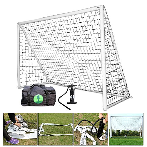Eco Walker Inflatable Soccer Goal with Carrying Bag, Pump, Soccer Ball, Safe and Portable for Kids and Training (3m x 2m) ()