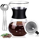 Pour Over Coffee Maker Cafetera De Vidrio De Goteo Manual De Jarra Con Filtro De Acero Inoxidable Reutilizable Resistencia Al