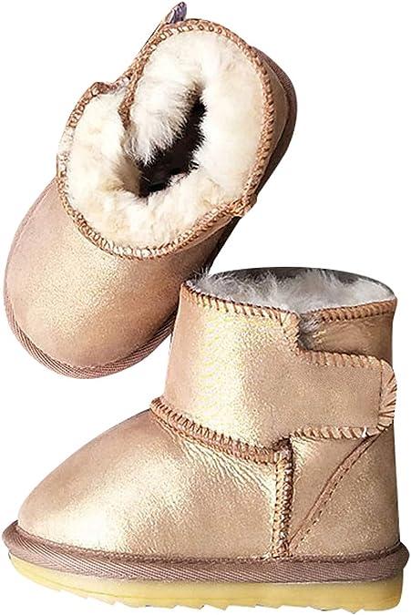 Fille Gar/çon Chaussures Bottes dhiver B/éb/é Enfant Bottines Mode de Neige avec Doublure Chaud Fourrure Beige 28 EU = 29 CN