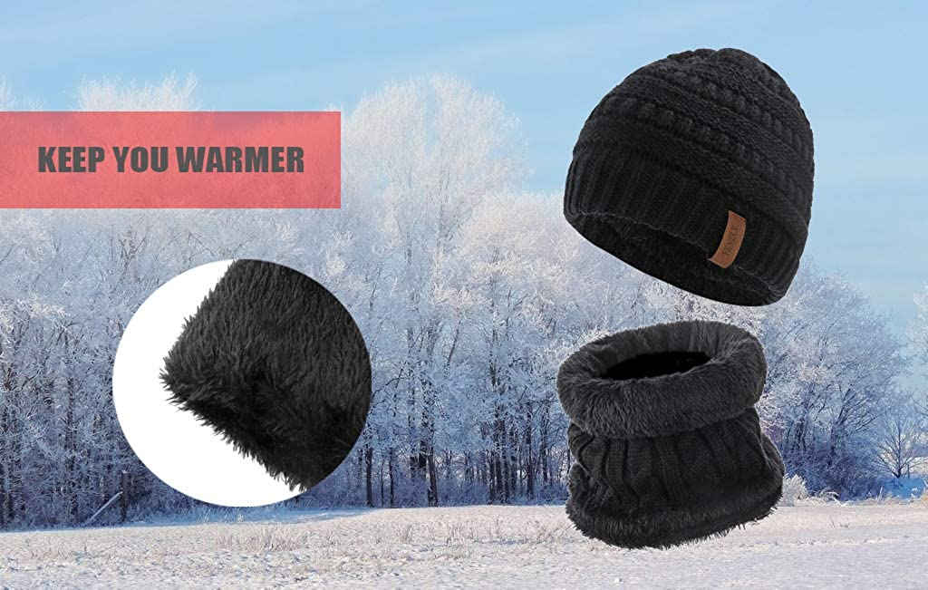 2 Pcs Kids Scarf and Hat Set for Boys and Girls Winter Warm Fleece Lined Knit Beanie and Infinity Scarf