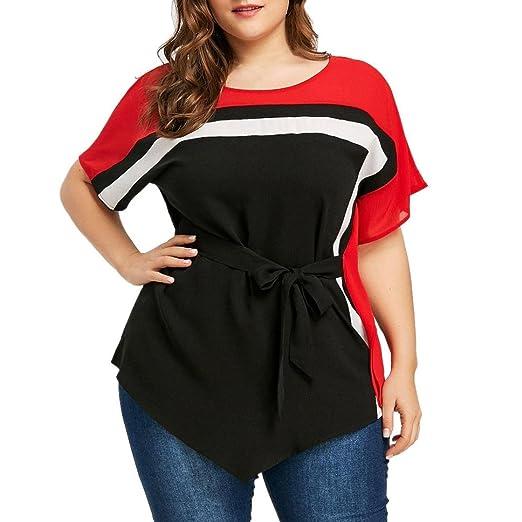 0f80482e81b Inverlee Women Loose Casual Plus Size Batwing Sleeve Tie Belt Asymmetric  Blouse Summer Short Sleeve Tops T-Shirt