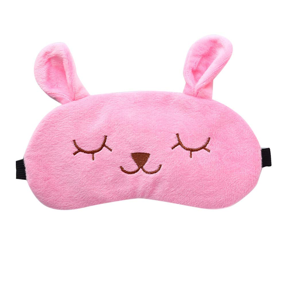 Saying Cute Cartoon Eyes-Closed Rabbit Sleep Eye Mask Padded Shade Cover Travel Relax Aid Soft Comfort Blindfold Great for Travel, Shift Work, Meditation for Women Girls (Pink)