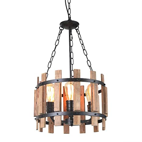Anmytek Wood Metal Chandelier Orb Pendant Light Rustic Industrial Edison Hanging Dining Room Vintage