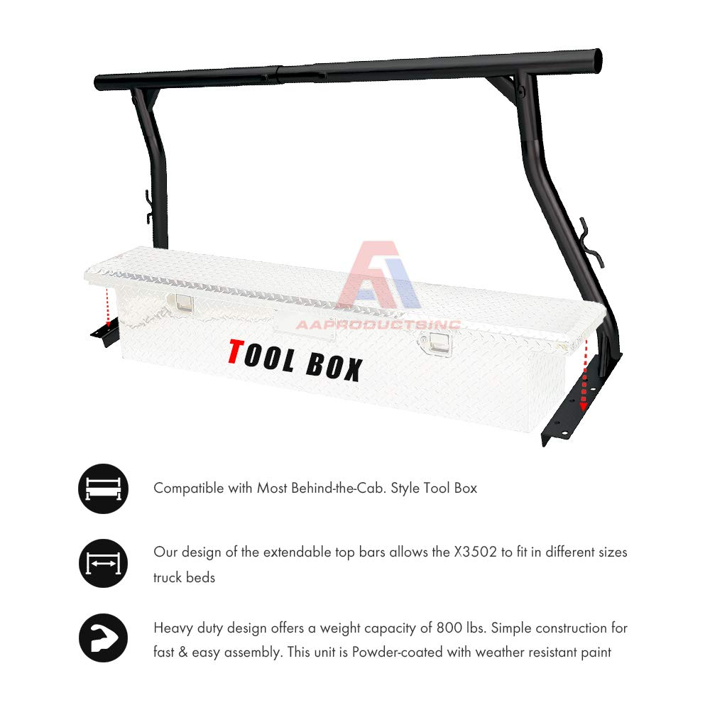 AA-Racks Model X3502 800Ibs Capacity Extendable Steel Pick-Up Truck Ladder Rack with (8) Non-Drilling C-Clamps Two-bar Set - Matte Black by AA Products Inc. (Image #5)