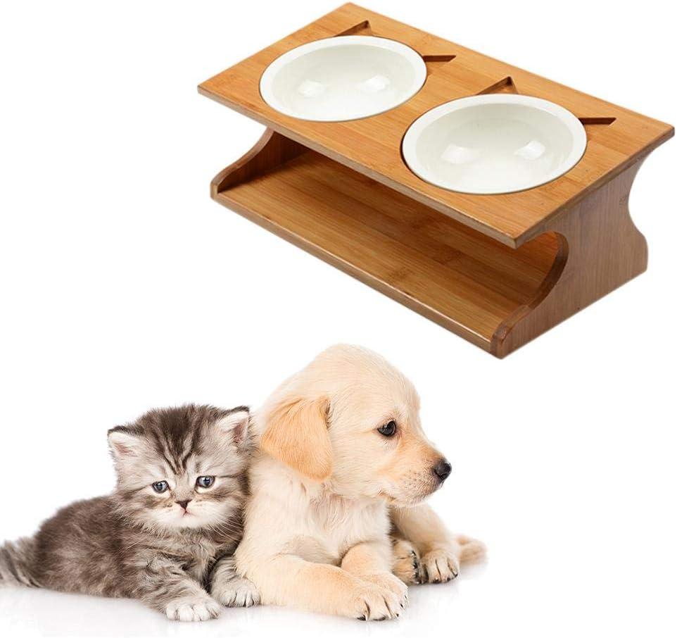 Hearthrousy Cuenco de Mascota Comederos Perros Pequeños Comederos Perros Acero Inoxidable Cuenco de Gato Mesa de Comedor del Gato del Animal Doméstico Tipo de Bambú Cuencos de Cerámica para Mascotas