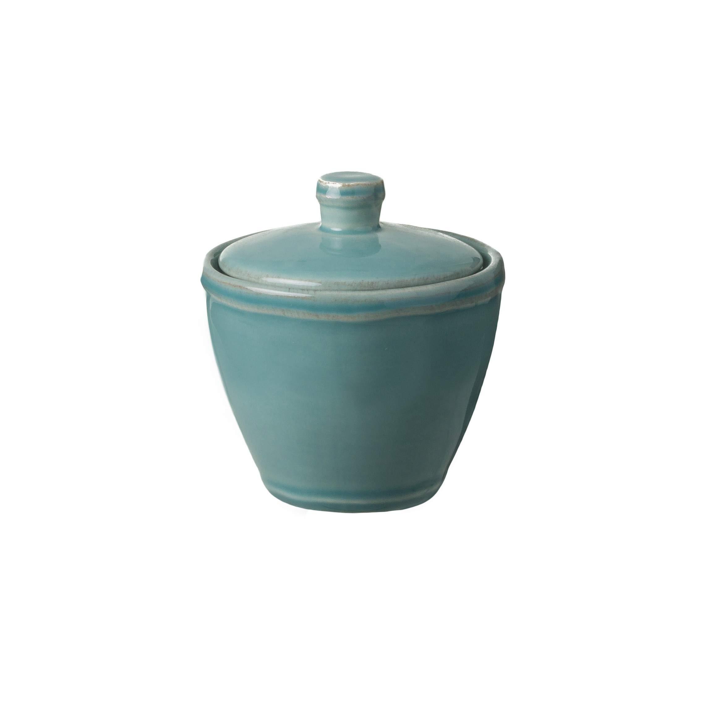 Casafina Stoneware Ceramic Dish Fontana Collection Sugar Bowl, Salt Cellar, Condiment Pot with Lid, 8 oz (Turquoise)