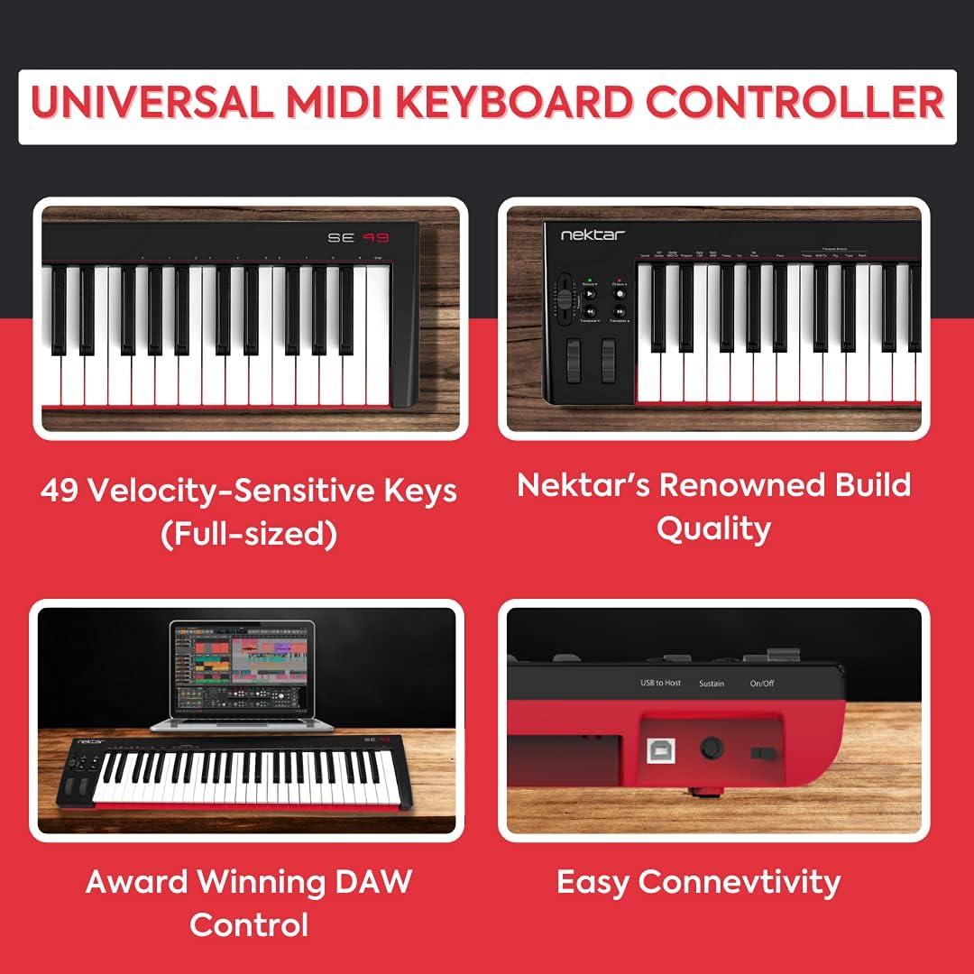 Nektar Controlador de teclado MIDI USB SE49 con integración Nektar DAW