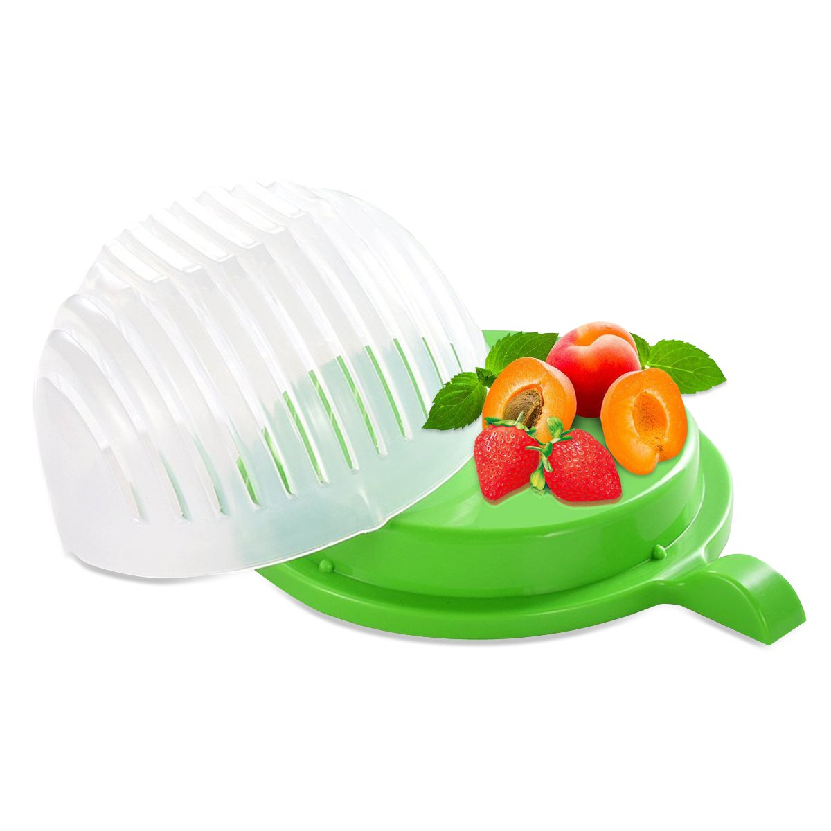 Rophie Durable Salad Cutter Salad Chopper Easy 60 Seconds Salad Maker Salad Cutter Bowl Vegetable Fruit Cutter Bowl FDA Certified Fast and Effective Salad Slicer Ltd E-5002-US