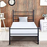 Reinforced Metal Bed Frame Twin Size, VECELO Platform Mattress Foundation / Box Spring Replacement with Headboard & Footboard