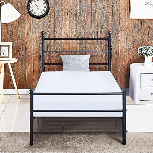 Reinforced Metal Bed Frame Twin Size, VECELO Platform Mattress Foundation / Box Spring Replacement with Headboard & Footboard by VECELO