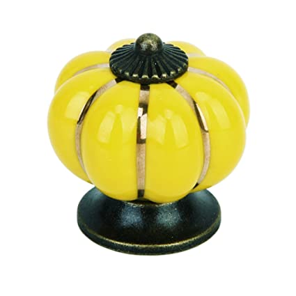 Miss and Mams Cute Pumpkin Drawer Cabinet Bin Dresser Cupboard Pull Knob Handle with Screw Yellow