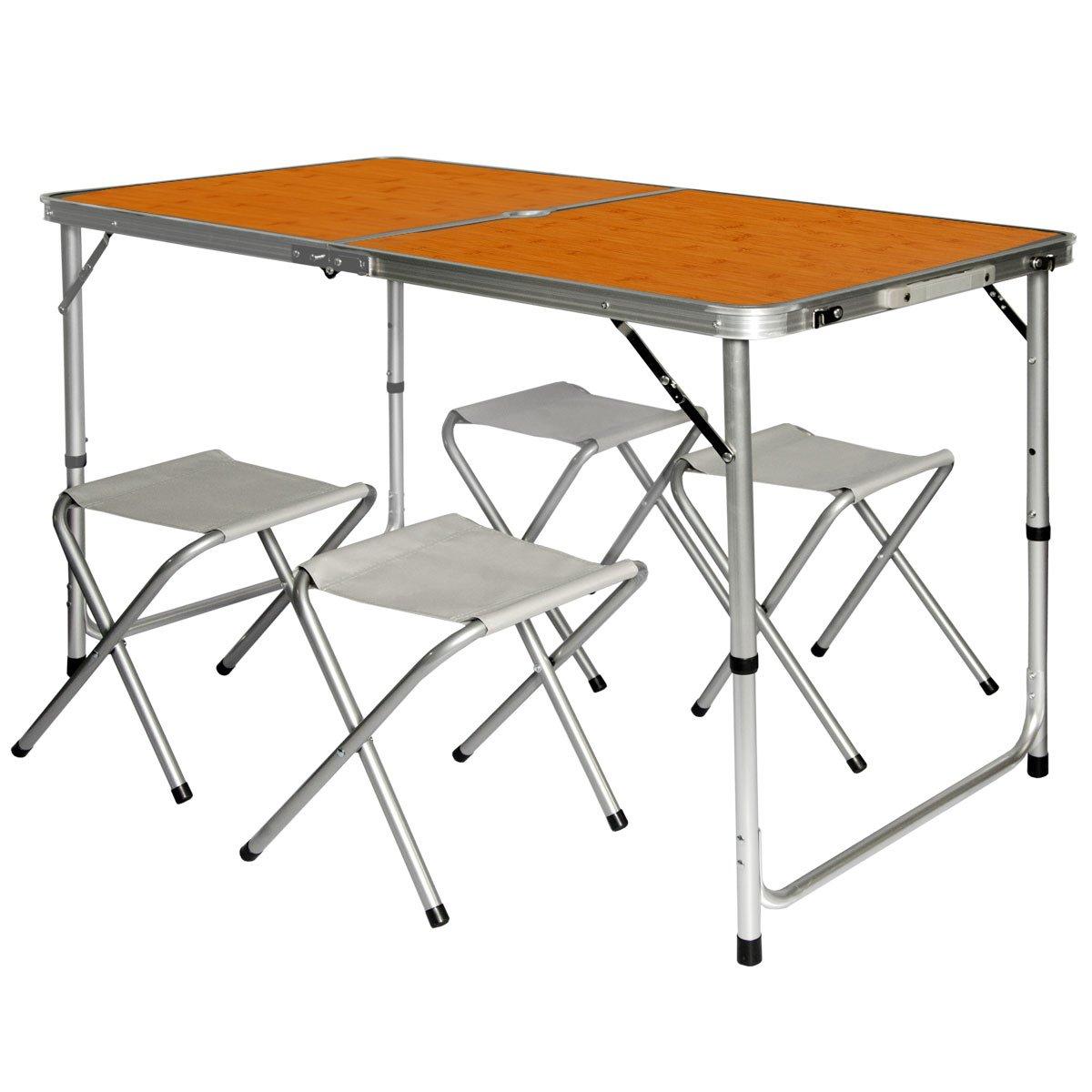 AMANKA Tavolino da pic-nic incl 4 Sgabelli Tavolo da campeggio 120x60x70cm altezza regolabile pieghevole formato valigia Bambù Omnideal