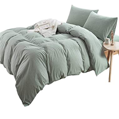 Luxury Solid Green Duvet Cover Set King Natural Washed Cotton Duvet Comforter Cover Set Hotel Soft Boys Girls Bedding Cover Set 3 Piece King Size Duvet Cover Set 1 Duvet Cover with 2 Pillow Shams