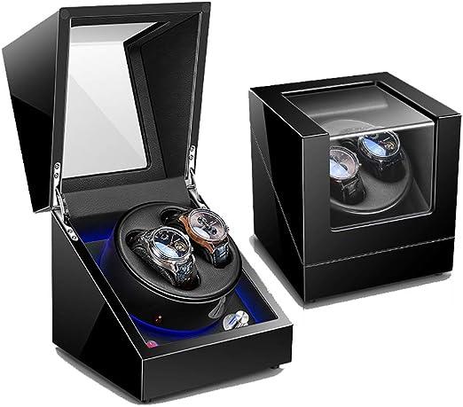 Caja Relojes Automaticos Estuche Caja de enrollador de Reloj automático Doble para 2 Relojes de Pulsera con Motor Mabuchi silencioso - 5 Modos de rotación, luz Ambiental LED, Laca de Piano: Amazon.es: Relojes