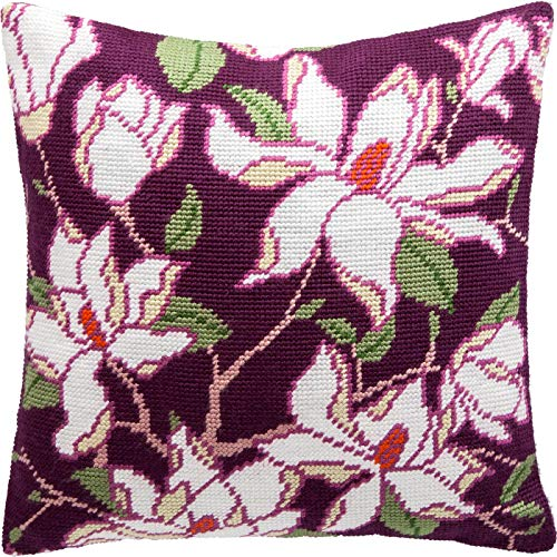 (Magnolia. Cross Stitch kit, Throw Pillow case 16×16 inches. Home Decor, DIY Embroidery Needlepoint Front Cushion Cover, Printed Tapestry Canvas, European Quality. Flowers, Floral )