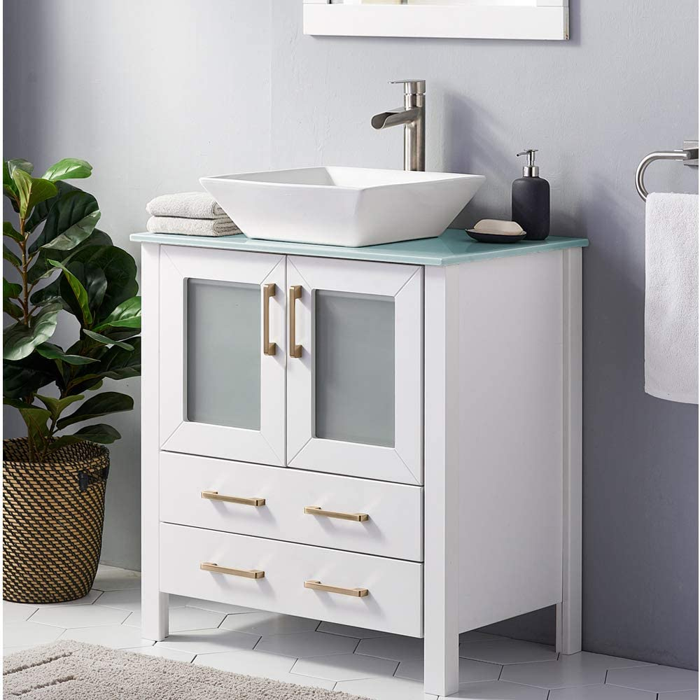 30 Inch White Bathroom Vanity Sink Combo Bath Vanity With Sink Modern Bathroom Vanity Cabinet With Ceramic Sink Single Bathroom Sink Cabinet With 1 Shelf 2 Drawers Kitchen Bath Fixtures Tools Home