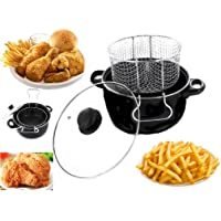 HQ Black Non Stick Chip Pan Set Fryer Deep Fat Frying Basket Pot W Glass Lid 2l
