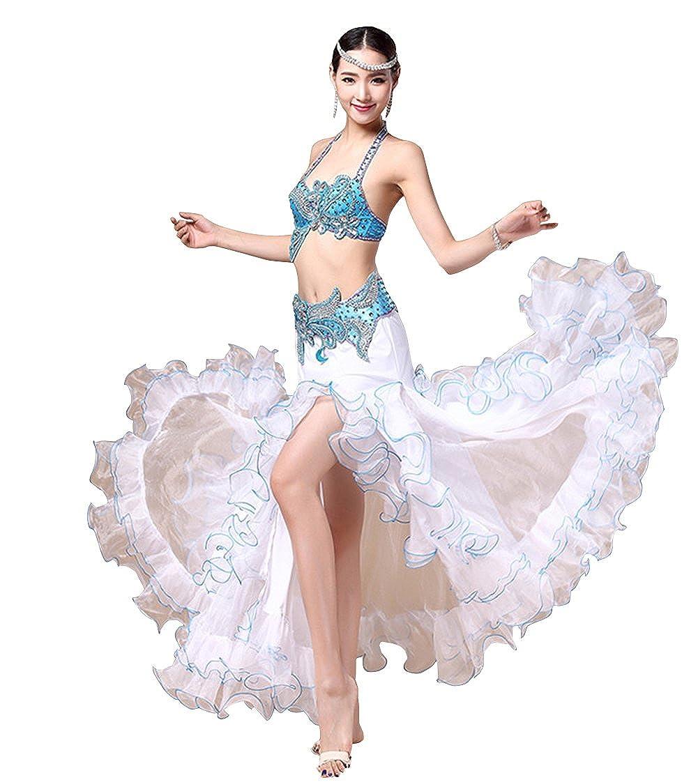 RIKOUZY ベリーダンス衣装セット ビーズ刺繍プロ仕様ダンス服 3点セット高級演出服 ブラジャー 腰ベルト スカート コスチューム B0784B9V5W 水色 S