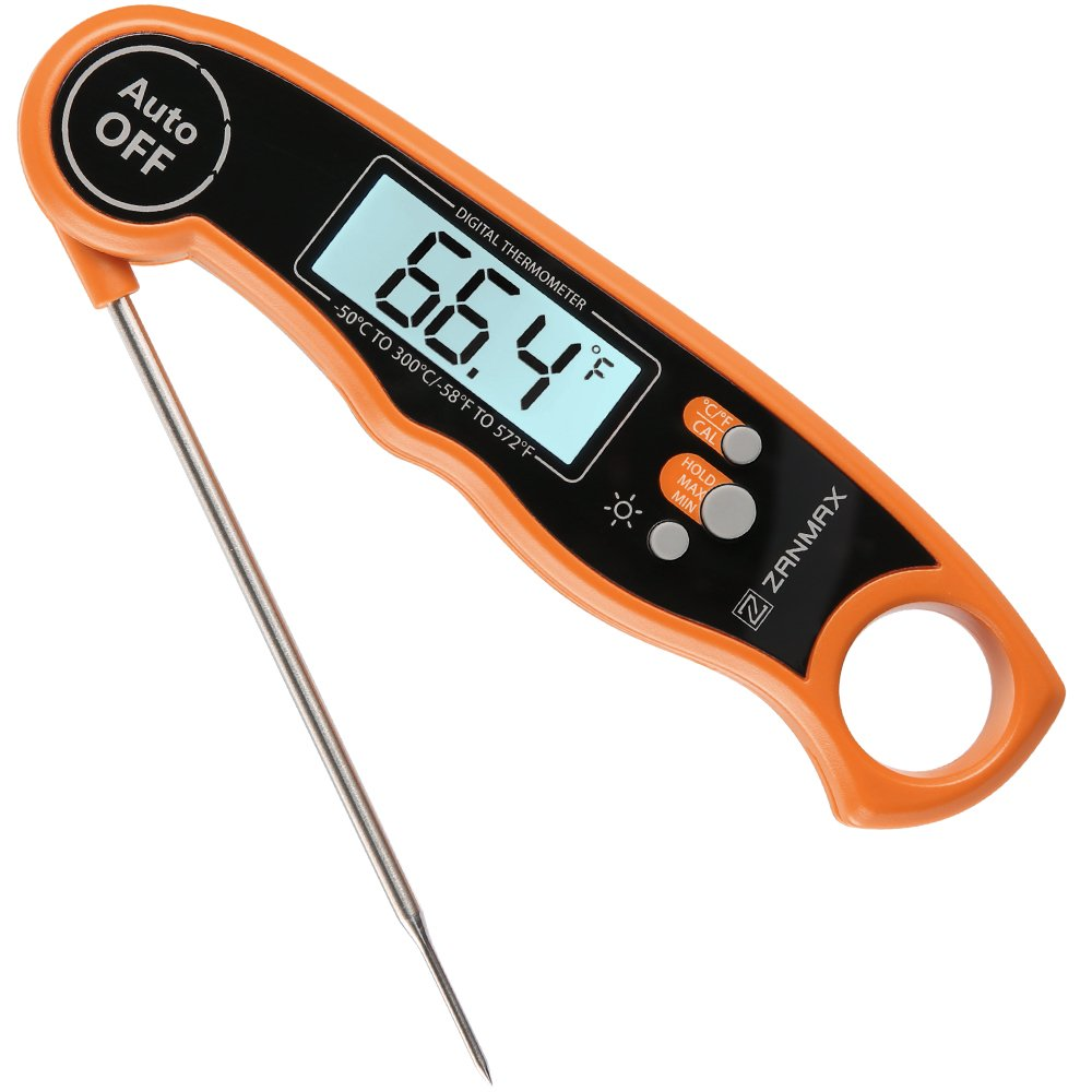Digital Kitchen Thermometer, Zanmax Instant Read Meat Thermometer Ultra Fast Food Thermometer with Backlight, Waterproof & Foldable, for Outdoor Cooking/BBQ/Grill Barbecue Thermometer Tool Z Zanmax