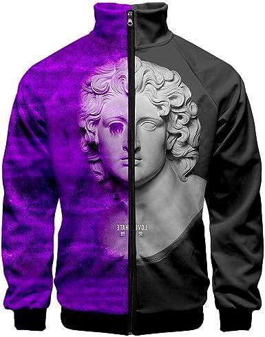 Qess Vaporwave 3D Digital Printing Zip-Up Jacket Long Sleeve Coat Mens