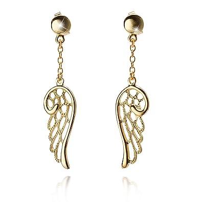 d7d59097a7fb MATERIA alas de ángel Pendientes de largo 925 plata dorado Deutsche  Fabricación   So de 307  Amazon.es  Joyería