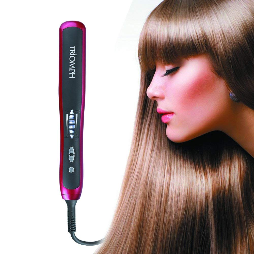 Hair Straightener Comb Brush Electric PTC Ceramic Heating 30s Instant Heat 60s Quick Styling Straightening Curling Anion Zero Hurt To Hair Anti Scald, Red by yahogo (Image #6)