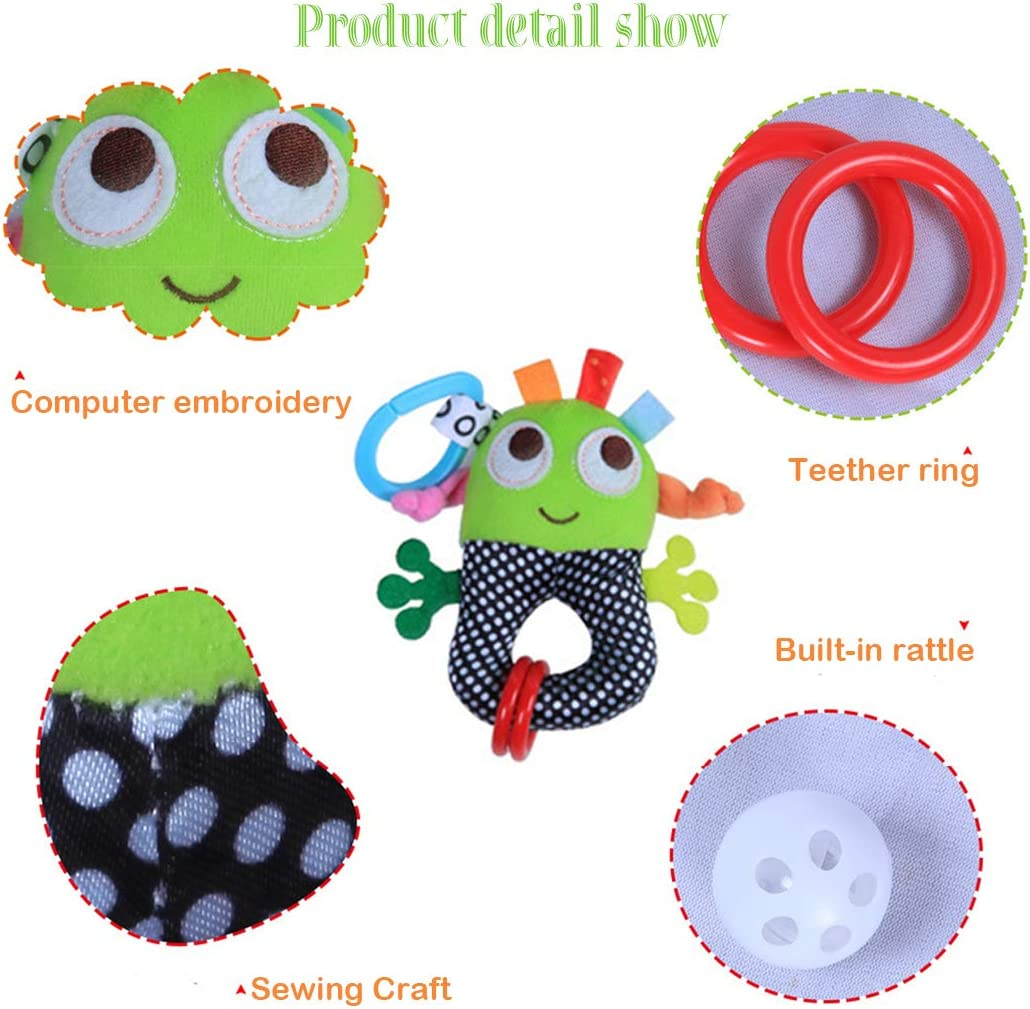 Kids Handbells Rattles Toys Can Bite MIMIDOU 6 Inch Cartoon Plush Rattle Teether for Baby Soft Plush Toys for Newborn Gift.