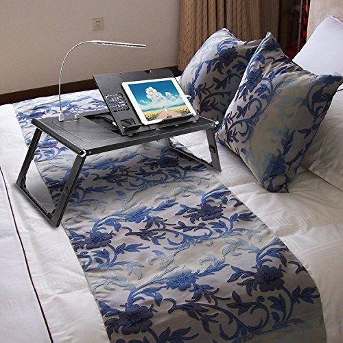 Adjustable Smart Table Folding Laptop Table with Built-in Rechargeable Power Bank and 2USB Ports by Dtemple (Image #1)
