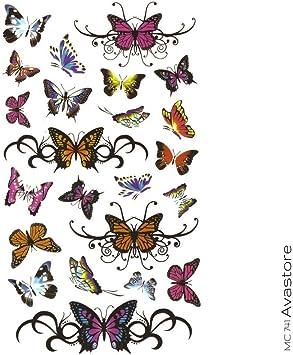 Tatouage Temporaire Femme Papillon Multicolore Autocollant Grand Modele Tatouage Ephemere Papillon Multicolore Minimaliste Tattoo Pour Femme Avastore Amazon Fr Beaute Et Parfum