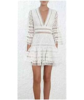 f47cd9bed17 Thankstop dress 2018 Women High-end Floral Embroidery Hollow Out Lace Dress  Bohemian Beach Dress