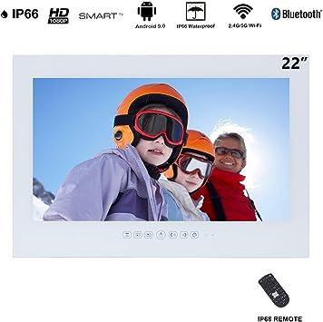 Haocrown Smart TV LED para baño IP66 Impermeable Sistema Android Televisión con Pantalla táctil y Wi-Fi Incorporado (22 Pulgadas, Blanco): Amazon.es: Electrónica