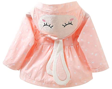 27d2000d5cfd Amazon.com  EGELEXY Baby Girls 3D Cartoon Rabbit Ear Hooded Jackets ...