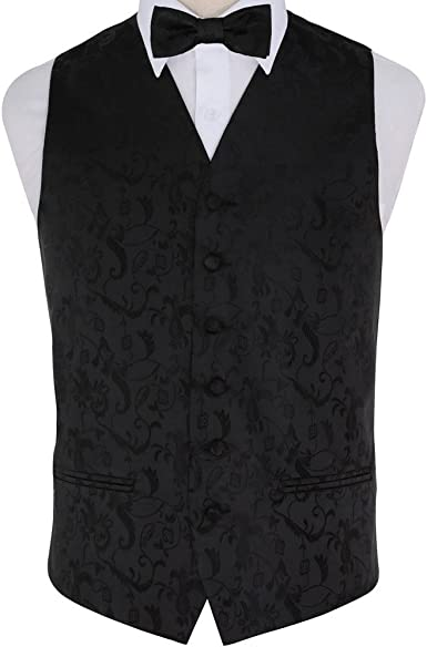 DQT Woven Swirl Patterned Silver Mens Wedding Waistcoat /& Bow Tie Set