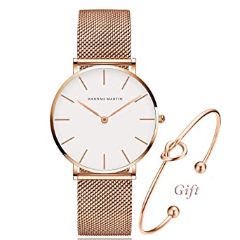 3377af34d Women's Rose Gold Watch Analog Quartz and Pink Leather Band Casual Fashion  Classic White Ladies Wrist