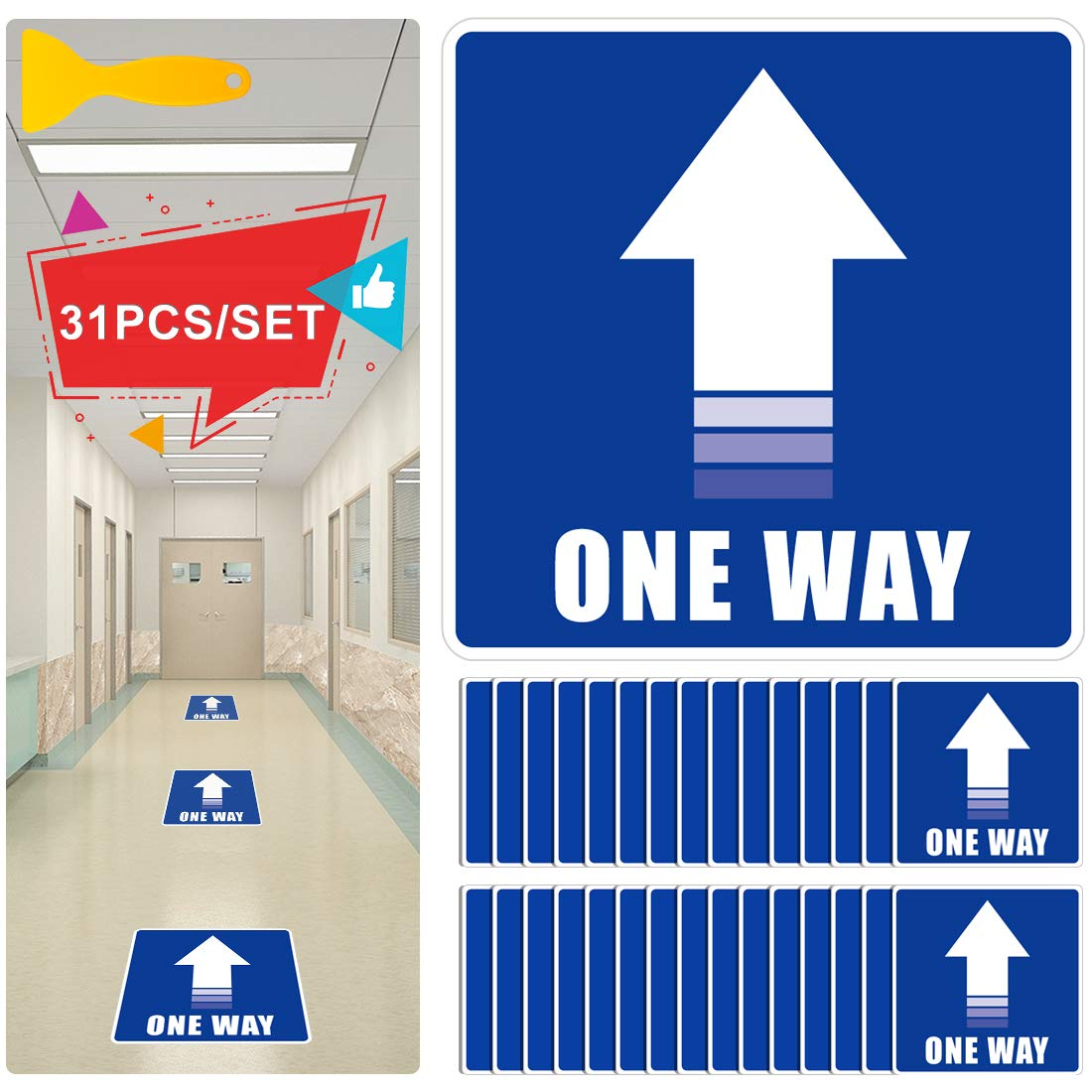 "IDJWVU 30Pcs 9.8"" x 9.8"" One Way Directional Arrow Floor Stickers Social Distance Floor Decals Non-Slip Removable Vinyl Safety Arrow Sign Markers for Wall Floor of Mall Store Office Grocery(Blue)"