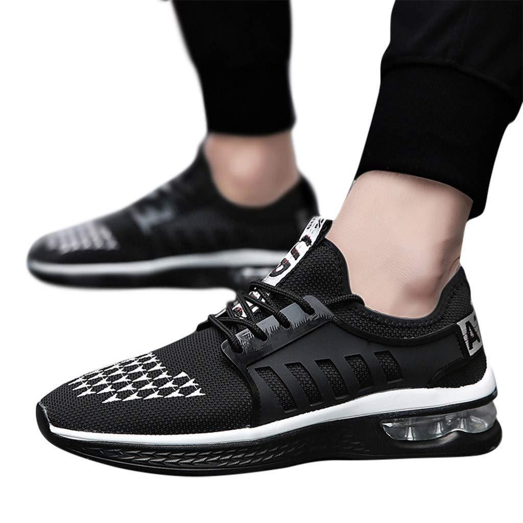 Lovygaga Fashion Men Casual Breathable Mesh Lightweight Air Cushion Bottom Sneakers Students Brief Wild Running Shoes White by Lovygaga (Image #2)