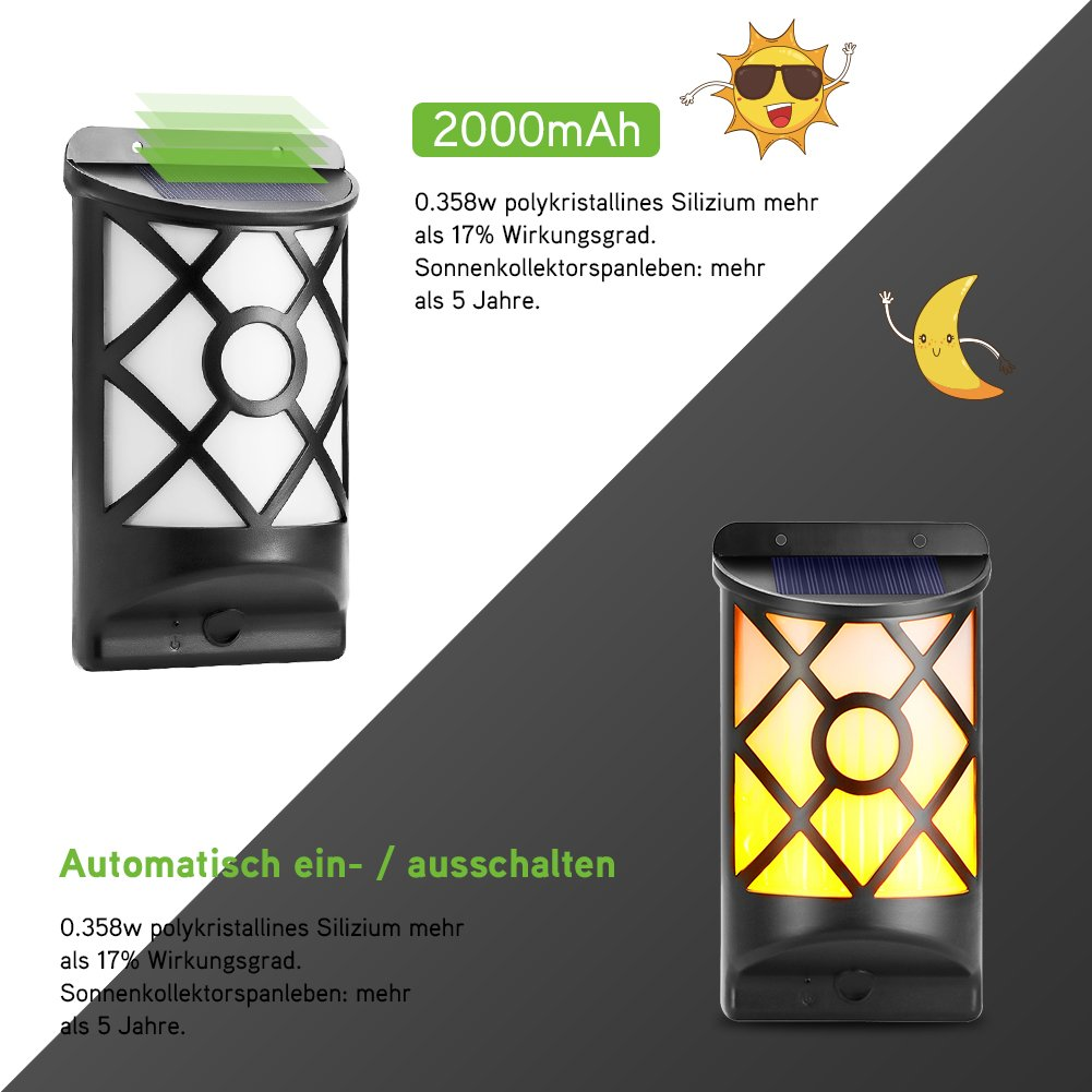 Cinoton Solarleuchten Solarpfad Tanzen Flammenbeleuchtung 66 LED D/ämmerung zum D/ämmerung Flackernde im Freien wasserdichte Zaunlichter 2 Licht
