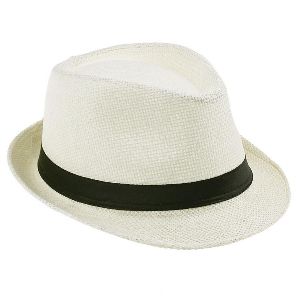 EOZY Cream Fedora Trilby Gangste Summer Beach Sun PP Braid Straw Panama Hat